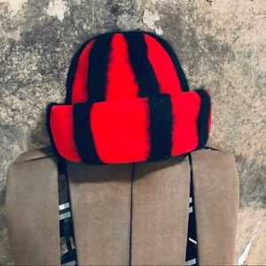 Vintage Mr John Jr red wool felt hat black stripes